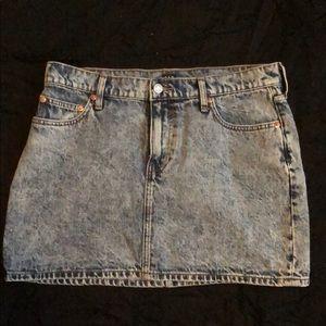 Acid wash mini skirt